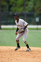 GCL Pirates second baseman Victor Ngoepe (5) during a game against the GCL Tigers West on July 17, 2017 at TigerTown in Lakeland, Florida.  GCL Tigers West defeated the GCL Pirates 7-4.  (Mike Janes/Four Seam Images)