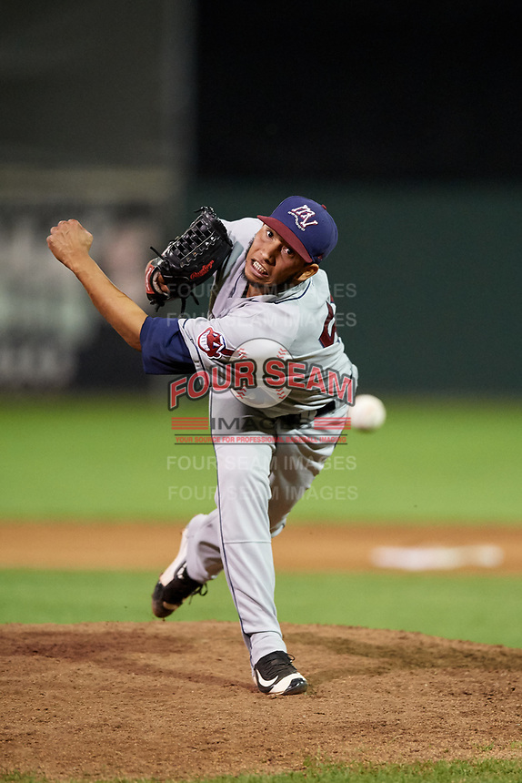 Mahoning Valley Scrappers relief pitcher Randy Valladares (51) delivers a pitch during a game against the Batavia Muckdogs on August 16, 2017 at Dwyer Stadium in Batavia, New York.  Batavia defeated Mahoning Valley 10-6.  (Mike Janes/Four Seam Images)