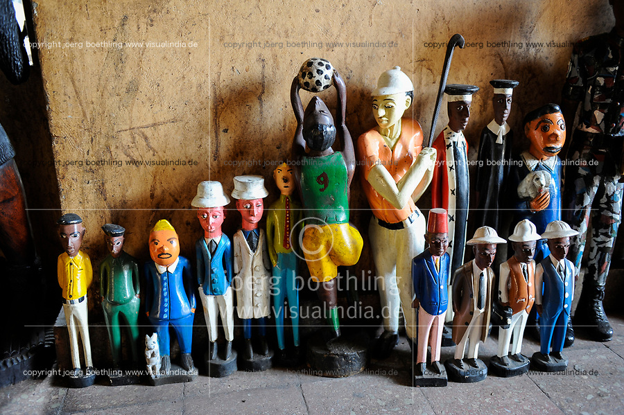 MALI, Bamako, African Souvenirs shop, colonial wooden figures with tropical helmet or Pith Helmet showing different professions