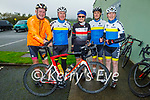 Ready for their cycle for the Samartians and Kerry Hospice fundraiser at John Mitchels on Saturday morning, l to r: Fionbar Walsh, Michael O'Connell, Mags Toomey, Pat Leahy and Matt Lacey.