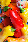 Sweet Peppers, species Capsicum annuum, in a jar in close up image.  Ready for use.