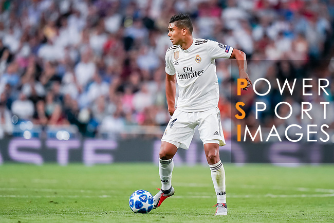 Carlos Henrique Casemiro of Real Madrid in action during the UEFA Champions League 2018-19 match between Real Madrid and Roma at Estadio Santiago Bernabeu on September 19 2018 in Madrid, Spain. Photo by Diego Souto / Power Sport Images