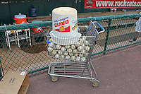 A shopping cart of batting practice baseballs prior to the game between the Binghamton Mets and the New Britain Rock Cats at New Britain Stadium on July 18, 2013 in New Britain, Connecticut. (Brace Hemmelgarn/Four Seam Images)