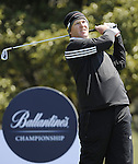 JEJU, SOUTH KOREA - APRIL 24:  Marcus Fraser of Australia tees off on the 14th hole during the Round Two of the Ballantine's Championship at Pinx Golf Club on April 24, 2010 in Jeju island, South Korea. Photo by Victor Fraile / The Power of Sport Images