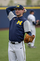 Michigan Wolverines pitcher Jeff Criswell (17) warms up before the NCAA baseball game against the Michigan State Spartans on May 7, 2019 at Ray Fisher Stadium in Ann Arbor, Michigan. Michigan defeated Michigan State 7-0. (Andrew Woolley/Four Seam Images)