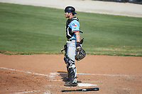 Hickory Crawdads catcher Matt Whatley (19) on defense against the Kannapolis Intimidators at Kannapolis Intimidators Stadium on June 2, 2019 in Kannapolis, North Carolina. The Intimidators defeated the Crawdads 4-3. (Brian Westerholt/Four Seam Images)