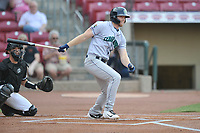Cedar Rapids Kernels first baseman Gabe Snyder (24) swings at a pitch against the Quad Cities River Bandits at Veterans Memorial Stadium on April 16, 2019 in Cedar Rapids, Iowa.  The Kernels won 11-2.  (Dennis Hubbard/Four Seam Images)