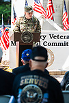 WATERBURY, CT 072421JS03 U.S. Army 1st Lt. Gregory Doms with the 143rd Combat Sustainment Support Battalion, was the guest speaker during the Waterbury Veterans Memorial Committee's Korean War Veterans Remembrance Day ceremony held Saturday at the Waterbury Green. <br /> Jim Shannon Republican American