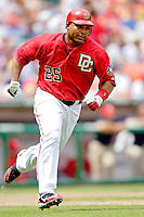 11 June 2006: Marlon Byrd, outfielder for the Washington Nationals, runs to first during a game against the Philadelphia Phillies at RFK Stadium, in Washington, DC. The Nationals shut out the visiting Phillies 6-0 to take the series three games to one...Mandatory Photo Credit: Ed Wolfstein Photo..