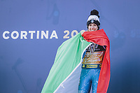 Alpine World Ski Championships, Cortina 2021 16 02 2021, Cortina, ITA, FIS Alpine World Ski Championships, Parallel Event, Ladies, Award Ceremony, in the picture Gold medal winner and world champion Marta Bassino ITA during the winner ceremony of Ladies Parallel Event of FIS Alpine World Ski Championships 2021 in Cortina, Italy on 2021 02 16 Cortina Italy <br /> Photo imago images/Eibner Europa/Insidefoto
