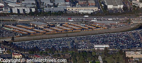 aerial photograph of the Los Angeles Unified School District Gardena Bus Garage, Gardena, Los Angeles County, California