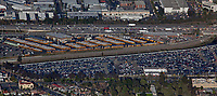 aerial photograph of the Los Angeles Unified School District Gardena Bus Garage, Gardena, Los Angeles County, California