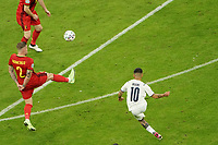 2nd July 2021; Allianz Arena, Munich, Germany; European Football Championships, Euro 2020 quarterfinals, Belgium versus Italy; Lorenzo Insigne, ITA shoots as he scores his goal for 0-2