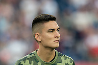 FOXBOROUGH, MA - AUGUST 3: Eduard Atuesta #20 of Los Angeles FC during a game between Los Angeles FC and New England Revolution at Gillette Stadium on August 3, 2019 in Foxborough, Massachusetts.