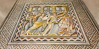 Roman mosaics - Achilles Mosaic.  Ancient Zeugama, 2nd - 3rd century AD . Zeugma Mosaic Museum, Gaziantep, Turkey.   Against an art background.