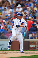 Chicago Cubs outfielder Kyle Schwarber (12) at bat during a game against the Milwaukee Brewers on August 13, 2015 at Wrigley Field in Chicago, Illinois.  Chicago defeated Milwaukee 9-2.  (Mike Janes/Four Seam Images)