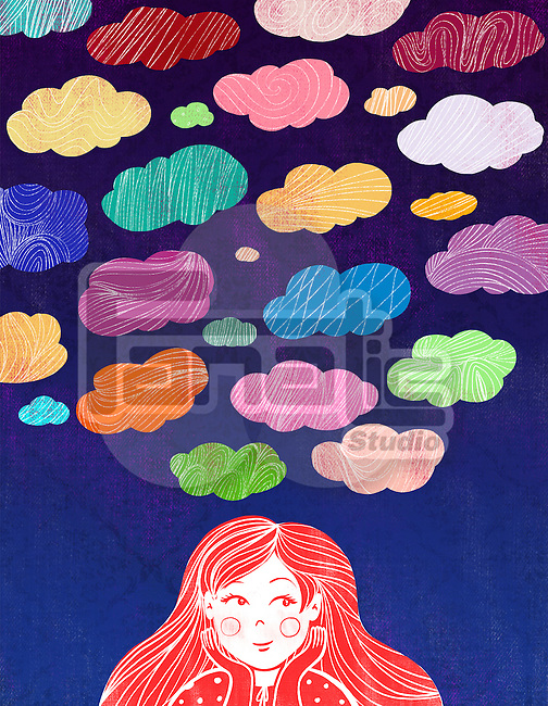 Illustrative image of girl with colorful clouds representing aspiration