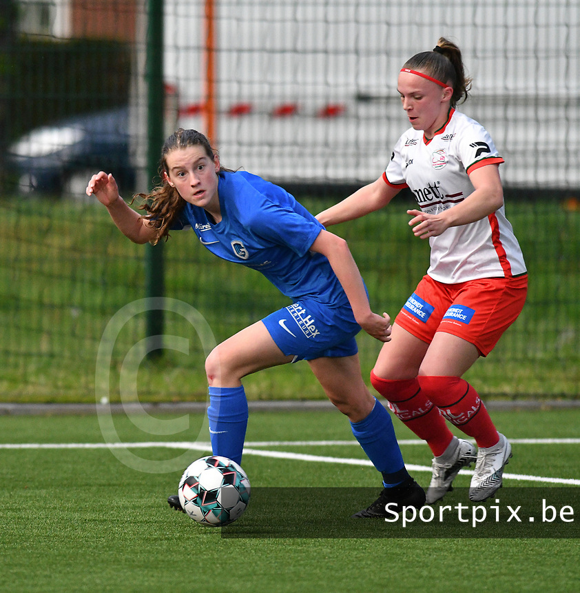 Maite De Baets (16) of Zulte Waregem and pictured during a female soccer game between  Racing Genk Ladies and SV Zulte-Waregem on the 7 th matchday of play off 2 in the 2020 - 2021 season of Belgian Scooore Womens Super League , friday 14 th of May 2021  in Genk , Belgium . PHOTO SPORTPIX.BE   SPP   JILL DELSAUX