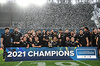 2nd October 2021, Cbus Super Stadium, Gold Coast, Queensland, Australia;   The All Blacks players pose for a team photo after winning the 2021 Rugby Championship.<br /> New Zealand All Blacks versus South Africa Springboks.The Rugby Championship. Rugby Union test match.