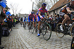 The peloton including Danilo Hondo (GER) Lampre-ISD climbs Molenberg during the 96th edition of The Tour of Flanders 2012, running 256.9km from Bruges to Oudenaarde, Belgium. 1st April 2012. <br /> (Photo by Eoin Clarke/NEWSFILE).