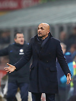 Calcio, Serie A: Inter - Napoli, Milano, stadio Giuseppe Meazza (San Siro), 11 marzo 2018.<br /> Inter's coach Luciano Spalletti gestures during the Italian Serie A football match between Inter Milan and Napoli at Giuseppe Meazza (San Siro) stadium, March 11, 2018.<br /> UPDATE IMAGES PRESS/Isabella Bonotto