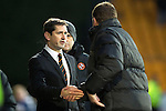St Johnstone v Dundee United.....29.12.13   SPFL<br /> Jackie McNamara shakes hands with Tommy Wright at full time<br /> Picture by Graeme Hart.<br /> Copyright Perthshire Picture Agency<br /> Tel: 01738 623350  Mobile: 07990 594431