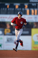Mahoning Valley Scrappers third baseman Nolan Jones (10) rounds the bases after hitting a home run in the top of the first inning during a game against the Batavia Muckdogs on August 30, 2017 at Dwyer Stadium in Batavia, New York.  Batavia defeated Mahoning Valley 5-1.  (Mike Janes/Four Seam Images)