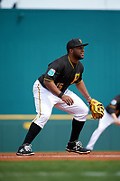 Pittsburgh Pirates third baseman Jason Rogers (15) during a Spring Training game against the Toronto Blue Jays  on March 3, 2016 at McKechnie Field in Bradenton, Florida.  Toronto defeated Pittsburgh 10-8.  (Mike Janes/Four Seam Images)