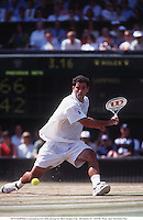 PETE SAMPRAS in devastating form while winning the Men's Singles Final.  Wimbledon 97.  970706. Photo: Glyn Kirk/Action Plus...1997.tennis.man men