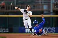 Bradenton Marauders second baseman Erich Weiss (6) throws to first after forcing out Michael Conforto (21) during a game against the St. Lucie Mets on April 11, 2015 at McKechnie Field in Bradenton, Florida.  St. Lucie defeated Bradenton 3-2.  (Mike Janes/Four Seam Images)