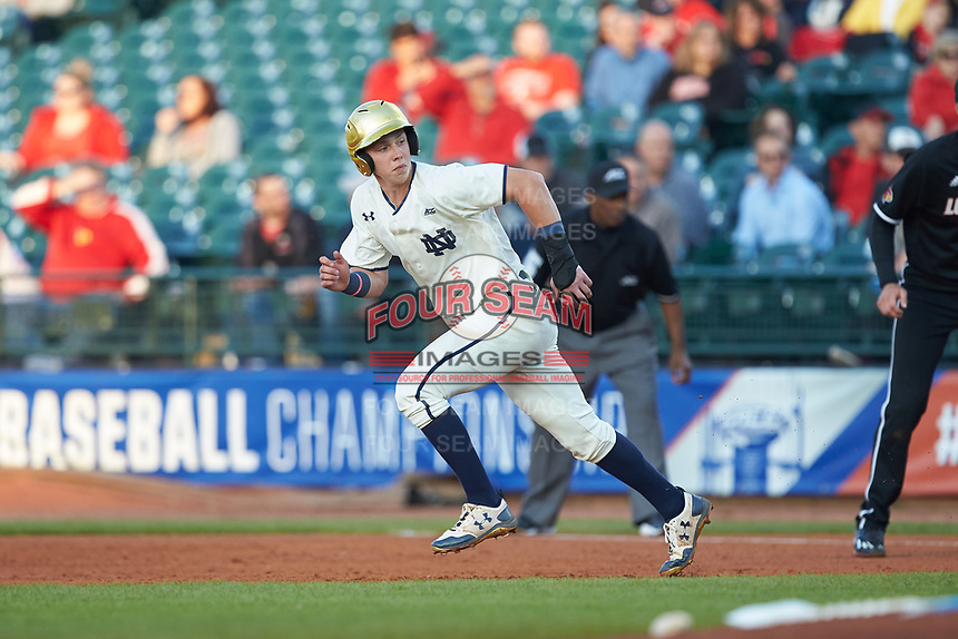 Nick Podkul (7) of the Notre Dame Fighting Irish hustles towards second base against the Louisville Cardinals in Game Eight of the 2017 ACC Baseball Championship at Louisville Slugger Field on May 25, 2017 in Louisville, Kentucky. The Cardinals defeated the Fighting Irish 10-3. (Brian Westerholt/Four Seam Images)