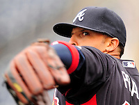 31 March 2011: Atlanta Braves outfielder Martin Prado warms up prior to the Opening Day festivities and game against the Washington Nationals at Nationals Park in Washington, District of Columbia. The Braves shut out the Nationals 2-0 to open the 2011 Major League Baseball season. Mandatory Credit: Ed Wolfstein Photo