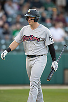 Logan Morrison (5) of the Scranton/Wilkes-Barre RailRiders walks back to the dugout after striking out at Victory Field on May 14, 2019 in Indianapolis, Indiana. The Indians defeated the RailRiders 4-2. (Andrew Woolley/Four Seam Images)