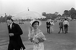 Eton College Parents Day 4th June 1978. Woman with parasol and white gloves.