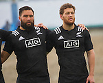 Joe Royal (L), Tawera Kerr-Barlow. Maori All Blacks vs. Fiji. Suva. MAB's won 27-26. July 11, 2015. Photo: Marc Weakley