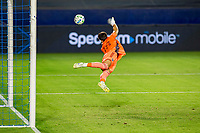 CARSON, CA - OCTOBER 14: James Marcinkowski #18 GK of the San Jose Earthquakes pushes a ball past the post during a game between San Jose Earthquakes and Los Angeles Galaxy at Dignity Heath Sports Park on October 14, 2020 in Carson, California.