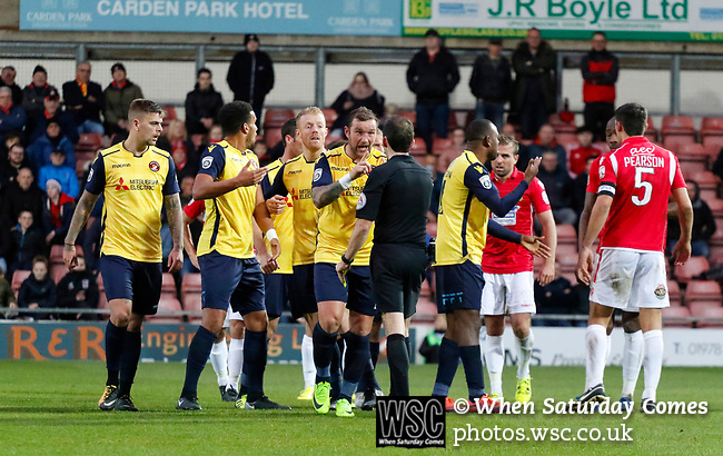 Wrexham 2 Ebbsfleet United 0, 18/11/2017. The Racecourse Ground, National League. Ebbsfleet players confront Referee Peter Gibbons. Photo by Paul Thompson.