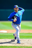 Toronto Blue Jays pitcher Mark Buehrle #56 during a Spring Training game against the Baltimore Orioles at Ed Smith Stadium on March 7, 2013 in Sarasota, Florida.  Balitmore defeated Toronto 11-10.  (Mike Janes/Four Seam Images)