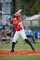 Enmanuel Estrella (9) during the Dominican Prospect League Elite Florida Event at Pompano Beach Baseball Park on October 15, 2019 in Pompano beach, Florida.  (Mike Janes/Four Seam Images)