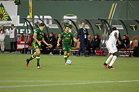 PORTLAND, OR - MARCH 01: Sebastian Blanco #10 of the Portland Timbers looks to pass to Diego Valeri #8 of the Portland Timbers during a game between Minnesota United FC and Portland Timbers at Providence Park on March 01, 2020 in Portland, Oregon.