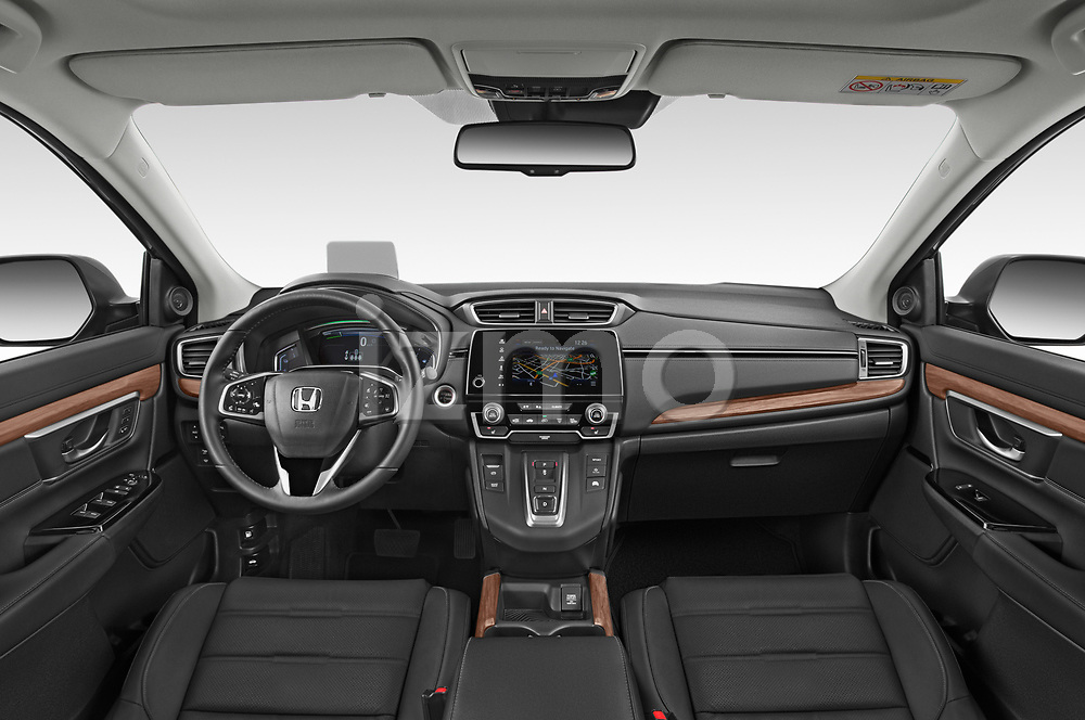 Stock photo of straight dashboard view of 2020 Honda CR-V-Hybrid Executive-4wd 5 Door SUV Dashboard