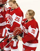 Connor Galway (BU - 26), Savannah Newton (BU - 28) - The Boston College Eagles defeated the visiting Boston University Terriers 5-3 (EN) on Friday, November 4, 2016, at Kelley Rink in Conte Forum in Chestnut Hill, Massachusetts.The Boston College Eagles defeated the visiting Boston University Terriers 5-3 (EN) on Friday, November 4, 2016, at Kelley Rink in Conte Forum in Chestnut Hill, Massachusetts.