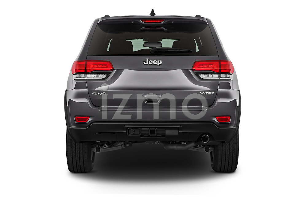 Straight rear view of a 2015 Jeep Grand Cherokee Laredo 5 Door SUV stock images