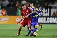 Carson, CA - Sunday January 28, 2018: Rubio Rubin, Darko Todorović during an international friendly between the men's national teams of the United States (USA) and Bosnia and Herzegovina (BIH) at the StubHub Center.
