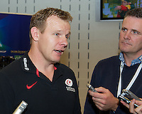 20121020 Copyright onEdition 2012©.Free for editorial use image, please credit: onEdition..Mark McCall, Saracens Director of Rugby, is interviewed by the media after the Heineken Cup Round 2 match between Saracens and Racing Metro 92 at the King Baudouin Stadium, Brussels on Saturday 20th October 2012 (Photo by Rob Munro)..For press contacts contact: Sam Feasey at brandRapport on M: +44 (0)7717 757114 E: SFeasey@brand-rapport.com..If you require a higher resolution image or you have any other onEdition photographic enquiries, please contact onEdition on 0845 900 2 900 or email info@onEdition.com.This image is copyright the onEdition 2012©..This image has been supplied by onEdition and must be credited onEdition. The author is asserting his full Moral rights in relation to the publication of this image. Rights for onward transmission of any image or file is not granted or implied. Changing or deleting Copyright information is illegal as specified in the Copyright, Design and Patents Act 1988. If you are in any way unsure of your right to publish this image please contact onEdition on 0845 900 2 900 or email info@onEdition.com