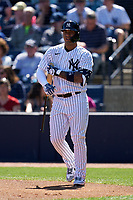 New York Yankees Gleyber Torres (25) bats during a Spring Training game against the Toronto Blue Jays on February 22, 2020 at the George M. Steinbrenner Field in Tampa, Florida.  (Mike Janes/Four Seam Images)