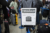 Ryanair baggage drop queue, Stansted airport, Essex.