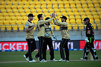 NZ's Mitch Santner celebrates dismissing Matthew Wade during the 4th international men's T20 cricket match between the New Zealand Black Caps and Australia at Sky Stadium in Wellington, New Zealand on Friday, 5 March 2021. Photo: Dave Lintott / lintottphoto.co.nz