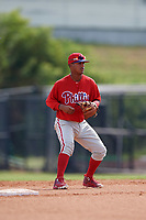 Philadelphia Phillies second baseman Brayan Gonzalez (38) during an Instructional League game against the Toronto Blue Jays on September 30, 2017 at the Carpenter Complex in Clearwater, Florida.  (Mike Janes/Four Seam Images)