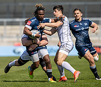 17th April 2021; AJ Bell Stadium, Salford, Lancashire, England; English Premiership Rugby, Sale Sharks versus Gloucester; Marland Yarde of Sale Sharks is tackled by Louis Rees-Zammit of Gloucester Rugby